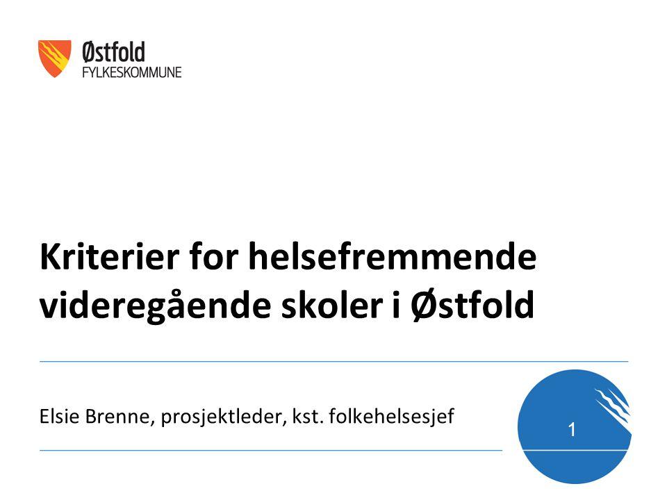 Elsie Brenne, prosjektleder, kst. folkehelsesjef Kriterier for helsefremmende videregående skoler i Østfold 1