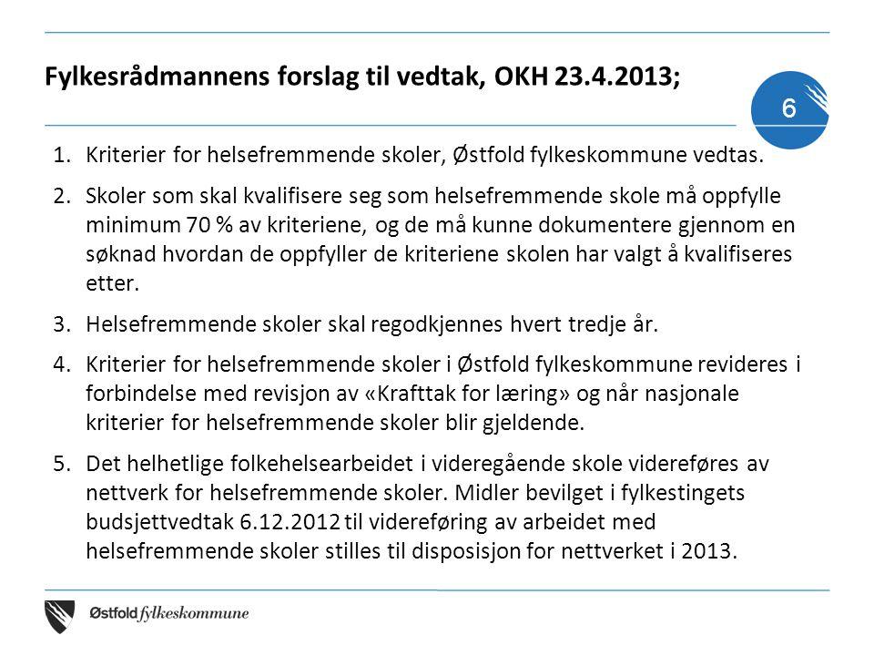 Fylkesrådmannens forslag til vedtak, OKH 23.4.2013; 1.Kriterier for helsefremmende skoler, Østfold fylkeskommune vedtas. 2.Skoler som skal kvalifisere