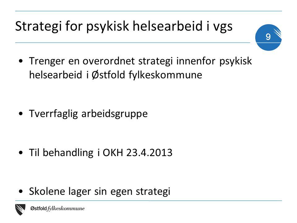 Strategi for psykisk helsearbeid i vgs •Trenger en overordnet strategi innenfor psykisk helsearbeid i Østfold fylkeskommune •Tverrfaglig arbeidsgruppe