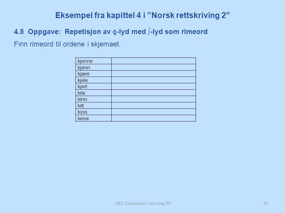 """i:SEE Conceptual Learning DA13 Eksempel fra kapittel 4 i """"Norsk rettskriving 2"""" kjenne kjønn kjære kjele kjørt kile kinn kitt kyss keive 4.5 Oppgave:"""