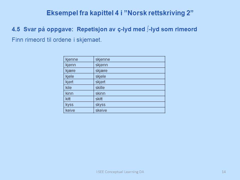 """i:SEE Conceptual Learning DA14 Eksempel fra kapittel 4 i """"Norsk rettskriving 2"""" 4.5 Svar på oppgave: Repetisjon av ç-lyd med ∫-lyd som rimeord Finn ri"""