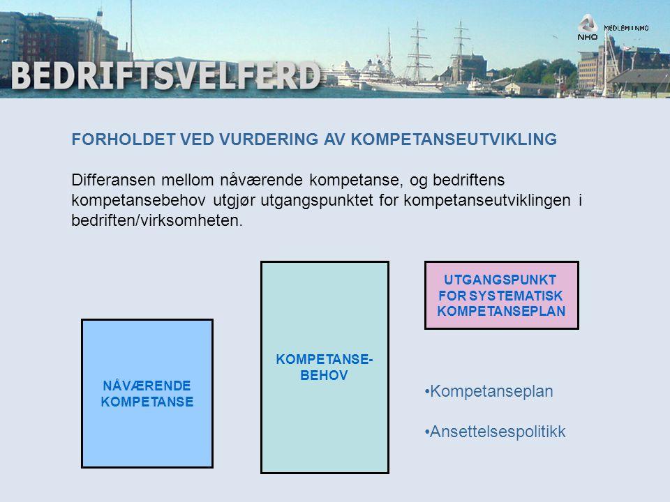 FORSLAG TIL SKISSE FOR STRATEGISK KOMPETANSESTYRING Modell for strategisk kompetanseutvikling (Lai 2004) STRATEGISK KOMPETANSESTYRING RESULTAT/EFFEKT KOSTNAD/NYTTE VIRKSOMHETSMÅL OG KOMPETANSEMÅL KARTLEGGING STRATEGI- PLAN ¨KOMPETANSETILTAK EKSTERN/INTERN PLANLEGGING GJENNOMFØRING EVALUERING KOMPETANSEUTVIKLING