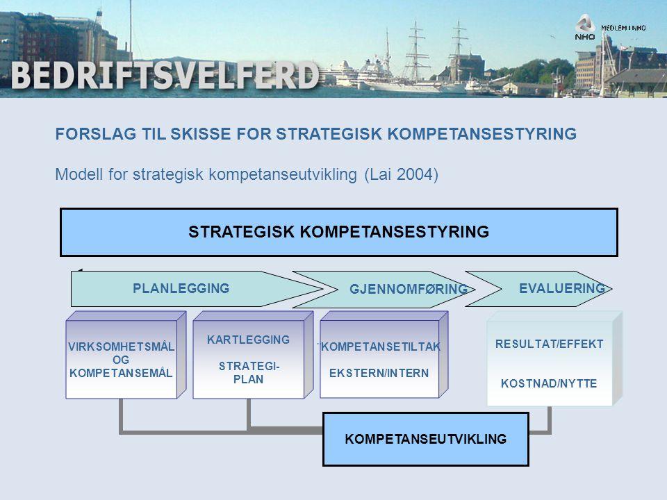 FORSLAG TIL SKISSE FOR STRATEGISK KOMPETANSESTYRING Modell for strategisk kompetanseutvikling (Lai 2004) STRATEGISK KOMPETANSESTYRING RESULTAT/EFFEKT