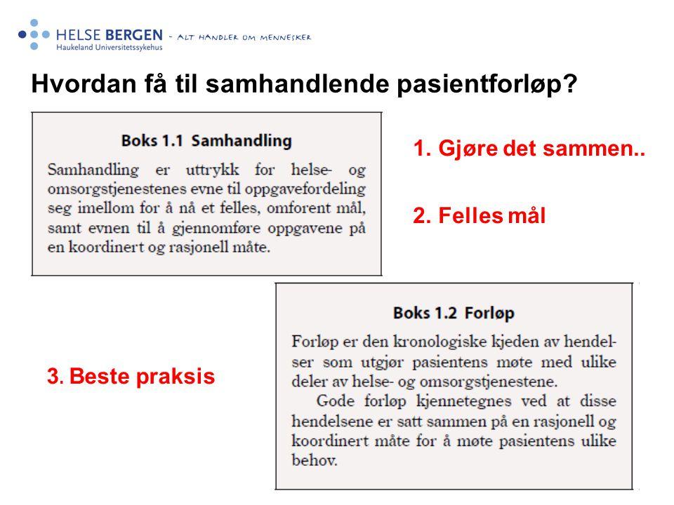 Hvordan få til samhandlende pasientforløp? 1.Gjøre det sammen.. 2.Felles mål 3. Beste praksis