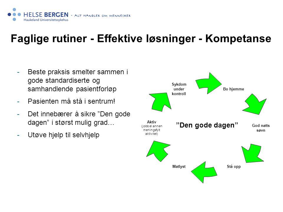 Faglige rutiner - Effektive løsninger - Kompetanse -Beste praksis smelter sammen i gode standardiserte og samhandlende pasientforløp -Pasienten må stå