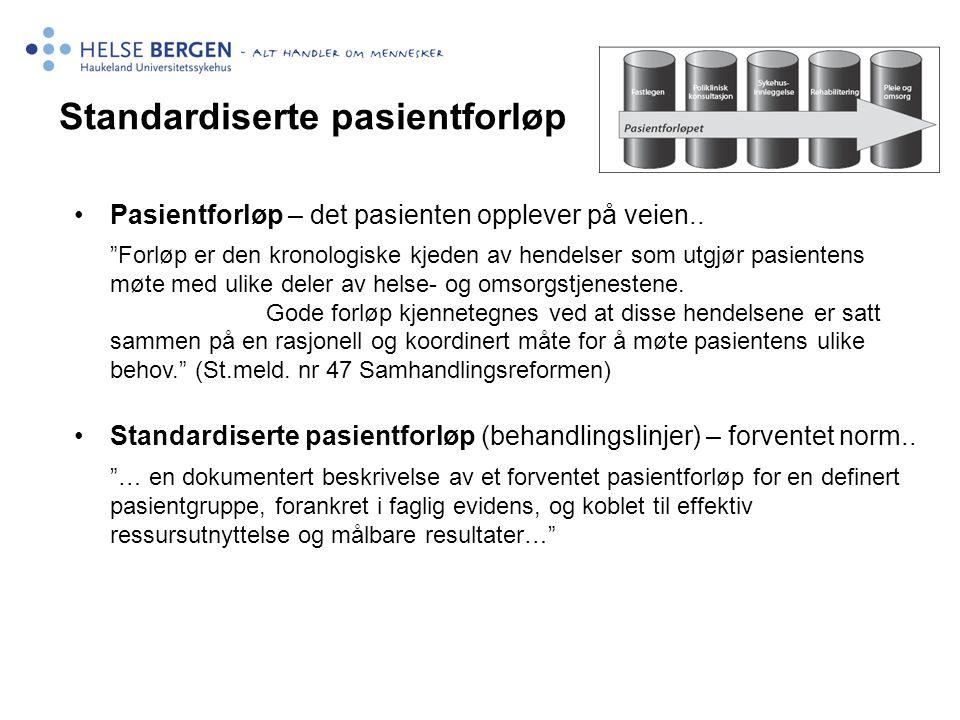 """Standardiserte pasientforløp •Pasientforløp – det pasienten opplever på veien.. """"Forløp er den kronologiske kjeden av hendelser som utgjør pasientens"""