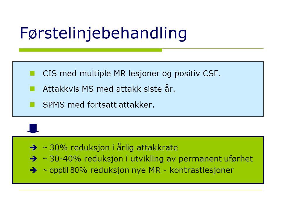 23 Førstelinjebehandling  CIS med multiple MR lesjoner og positiv CSF.