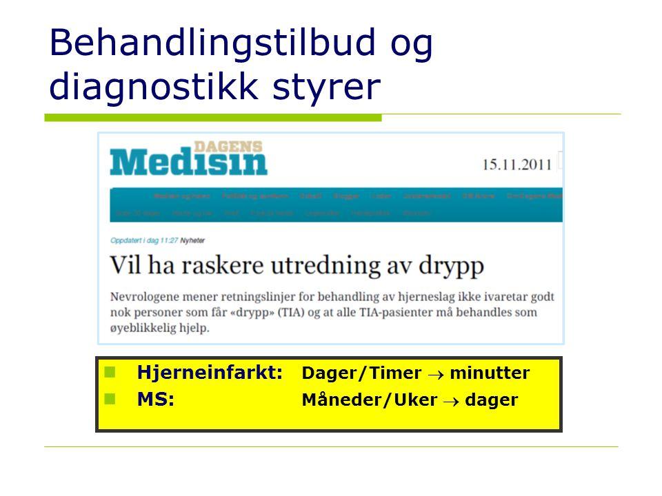 29 Behandlingstilbud og diagnostikk styrer  Hjerneinfarkt: Dager/Timer  minutter  MS: Måneder/Uker  dager