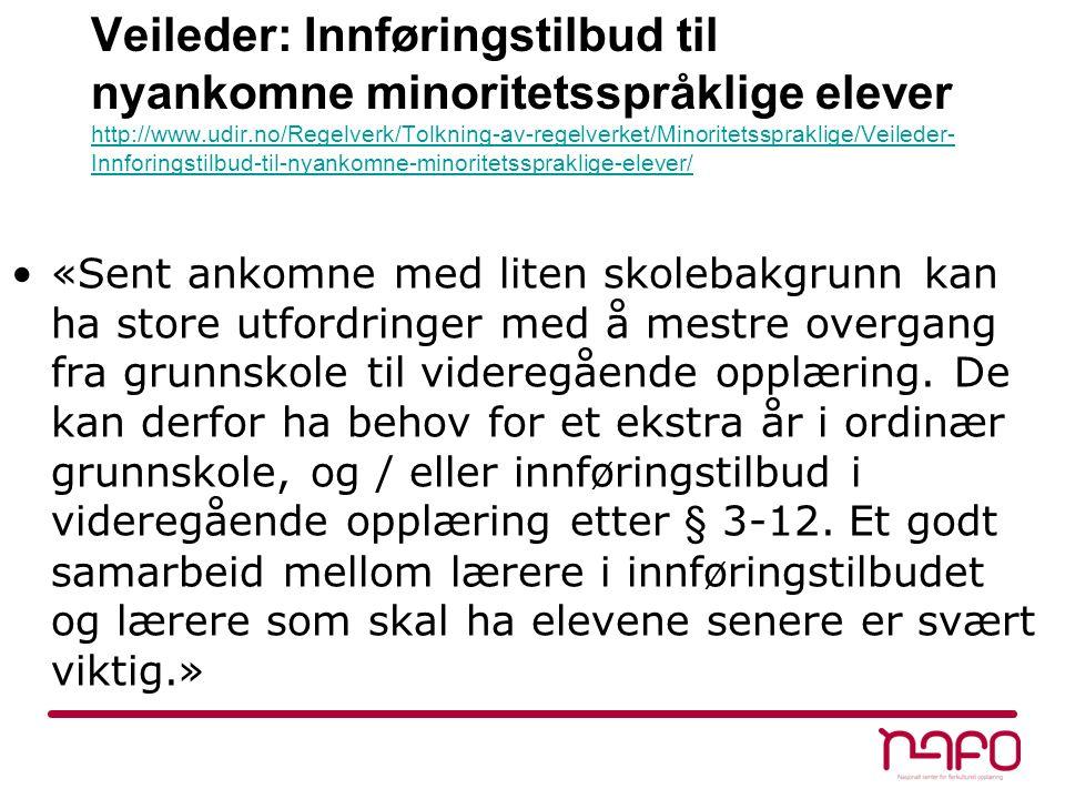 Veileder: Innføringstilbud til nyankomne minoritetsspråklige elever http://www.udir.no/Regelverk/Tolkning-av-regelverket/Minoritetsspraklige/Veileder-