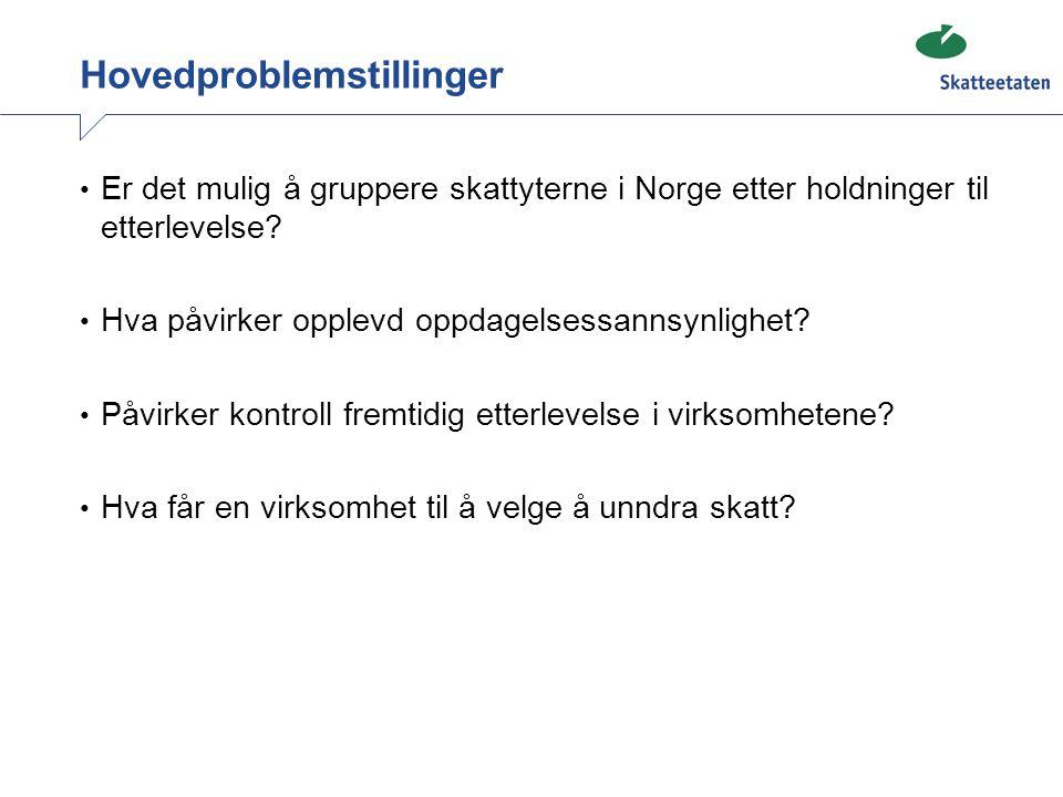 Hovedproblemstillinger • Er det mulig å gruppere skattyterne i Norge etter holdninger til etterlevelse? • Hva påvirker opplevd oppdagelsessannsynlighe