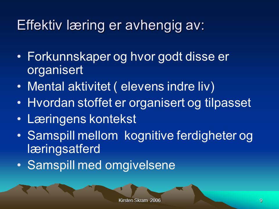 Kirsten Skram 20069 Effektiv læring er avhengig av: •Forkunnskaper og hvor godt disse er organisert •Mental aktivitet ( elevens indre liv) •Hvordan st