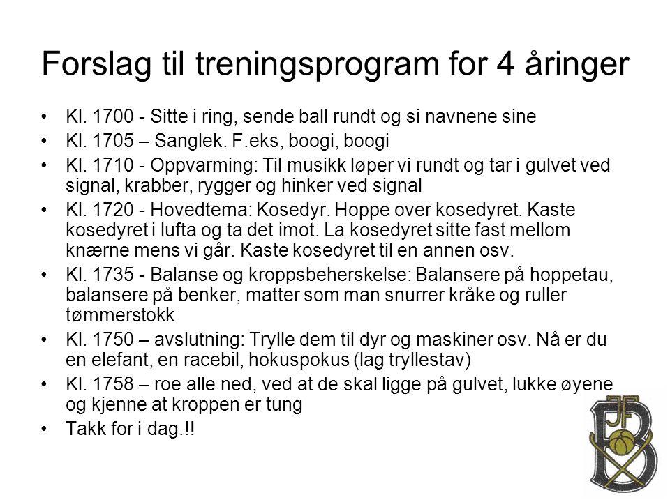 Forslag til treningsprogram for 4 åringer •Kl. 1700 - Sitte i ring, sende ball rundt og si navnene sine •Kl. 1705 – Sanglek. F.eks, boogi, boogi •Kl.