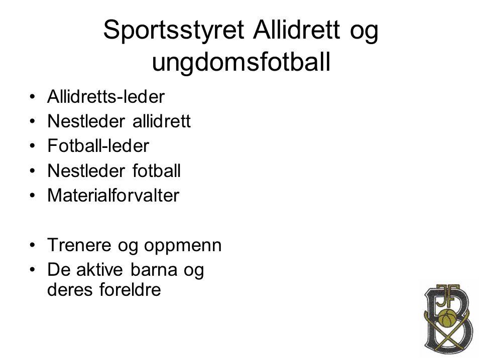 Sportsstyret Allidrett og ungdomsfotball •Allidretts-leder •Nestleder allidrett •Fotball-leder •Nestleder fotball •Materialforvalter •Trenere og oppme