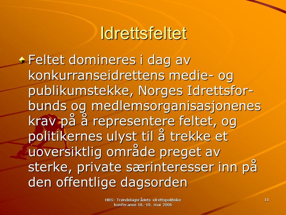 HBS: Trøndelagsrådets idrettspolitiske konferanse 18.-19. mai 2006 11 Idrettsfeltet Feltet domineres i dag av konkurranseidrettens medie- og publikums