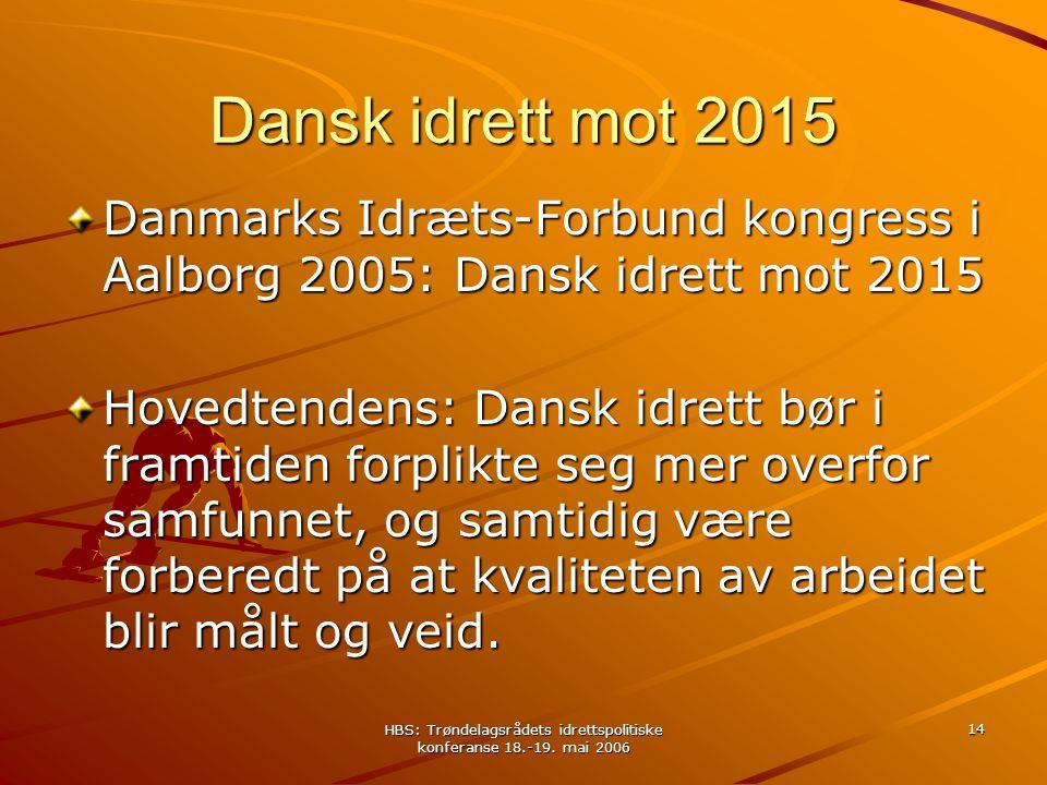HBS: Trøndelagsrådets idrettspolitiske konferanse 18.-19. mai 2006 14 Dansk idrett mot 2015 Danmarks Idræts-Forbund kongress i Aalborg 2005: Dansk idr