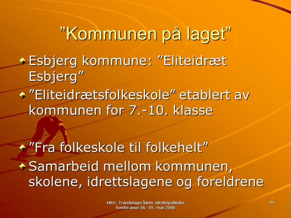 "HBS: Trøndelagsrådets idrettspolitiske konferanse 18.-19. mai 2006 15 ""Kommunen på laget"" Esbjerg kommune: ""Eliteidræt Esbjerg"" ""Eliteidrætsfolkeskole"