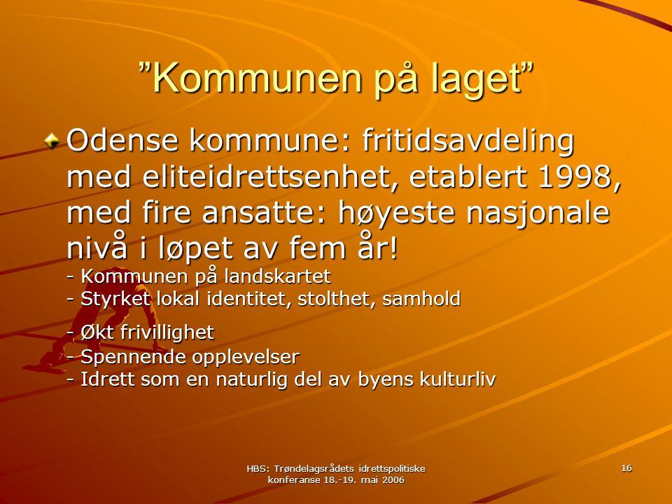 """HBS: Trøndelagsrådets idrettspolitiske konferanse 18.-19. mai 2006 16 """"Kommunen på laget"""" Odense kommune: fritidsavdeling med eliteidrettsenhet, etabl"""