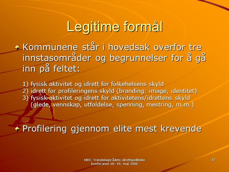 HBS: Trøndelagsrådets idrettspolitiske konferanse 18.-19. mai 2006 17 Legitime formål Kommunene står i hovedsak overfor tre innstasområder og begrunne