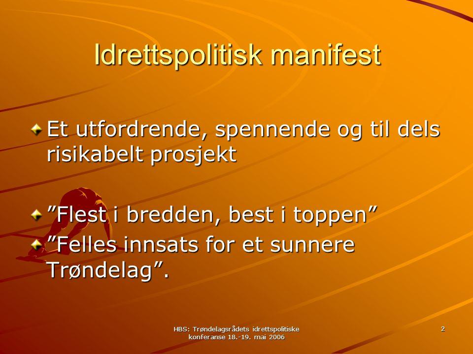 HBS: Trøndelagsrådets idrettspolitiske konferanse 18.-19. mai 2006 2 Idrettspolitisk manifest Et utfordrende, spennende og til dels risikabelt prosjek