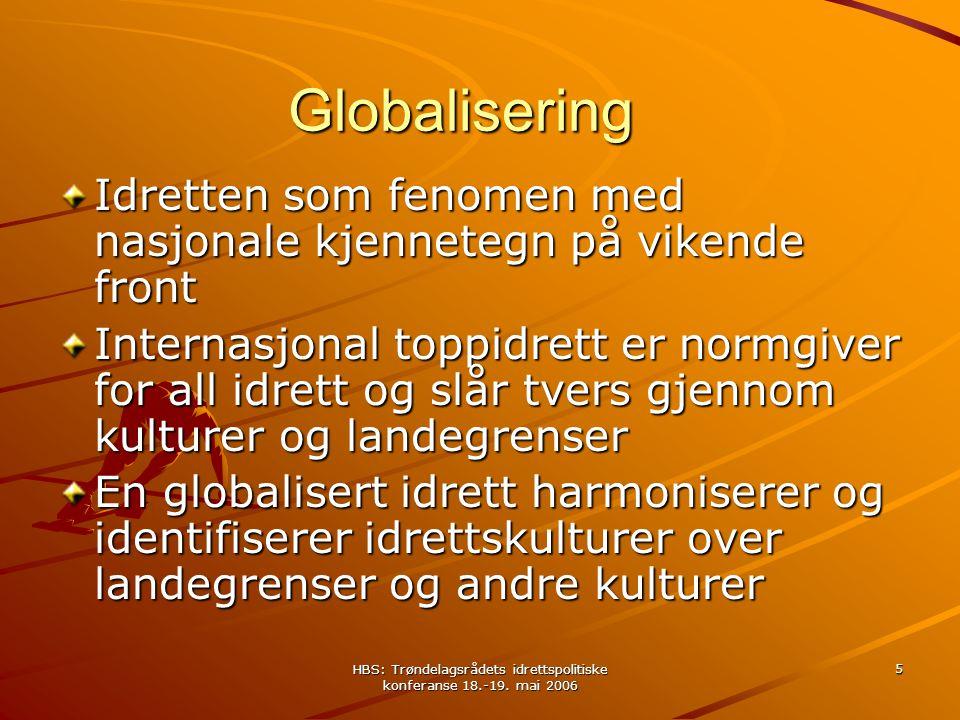 HBS: Trøndelagsrådets idrettspolitiske konferanse 18.-19. mai 2006 5 Globalisering Idretten som fenomen med nasjonale kjennetegn på vikende front Inte