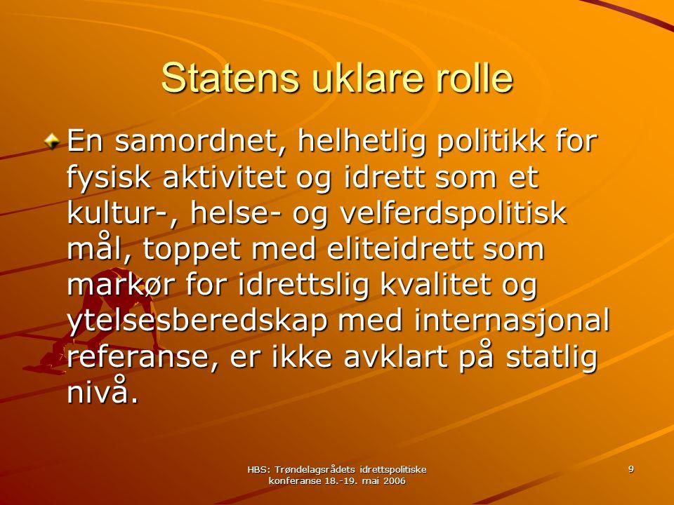 HBS: Trøndelagsrådets idrettspolitiske konferanse 18.-19. mai 2006 9 Statens uklare rolle En samordnet, helhetlig politikk for fysisk aktivitet og idr
