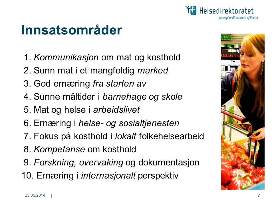 23.06.2014|| 7 Innsatsområder 1. Kommunikasjon om mat og kosthold 2. Sunn mat i et mangfoldig marked 3. God ernæring fra starten av 4. Sunne måltider