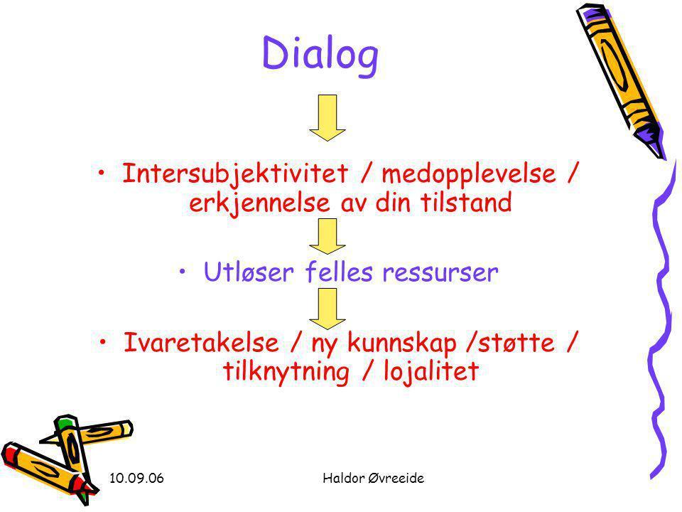 10.09.06Haldor Øvreeide •Intersubjektivitet / medopplevelse / erkjennelse av din tilstand •Utløser felles ressurser •Ivaretakelse / ny kunnskap /støtte / tilknytning / lojalitet Dialog