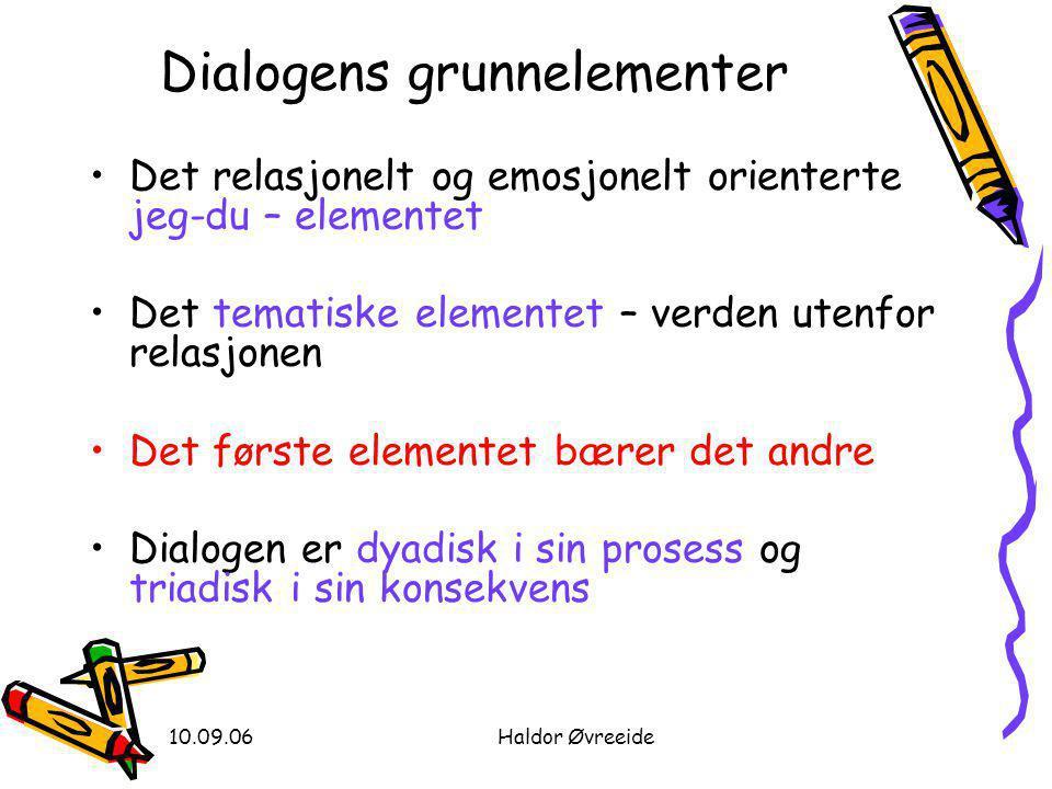 10.09.06Haldor Øvreeide Dialogens grunnelementer •Det relasjonelt og emosjonelt orienterte jeg-du – elementet •Det tematiske elementet – verden utenfo