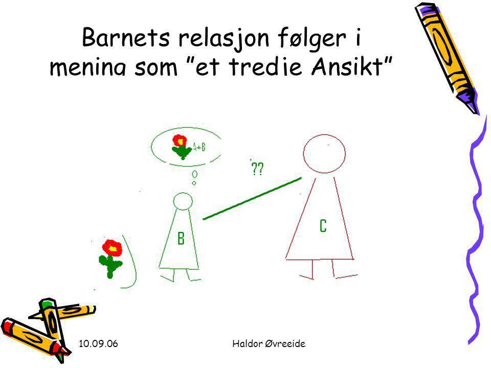 """10.09.06Haldor Øvreeide Barnets relasjon følger i mening som """"et tredje Ansikt"""""""