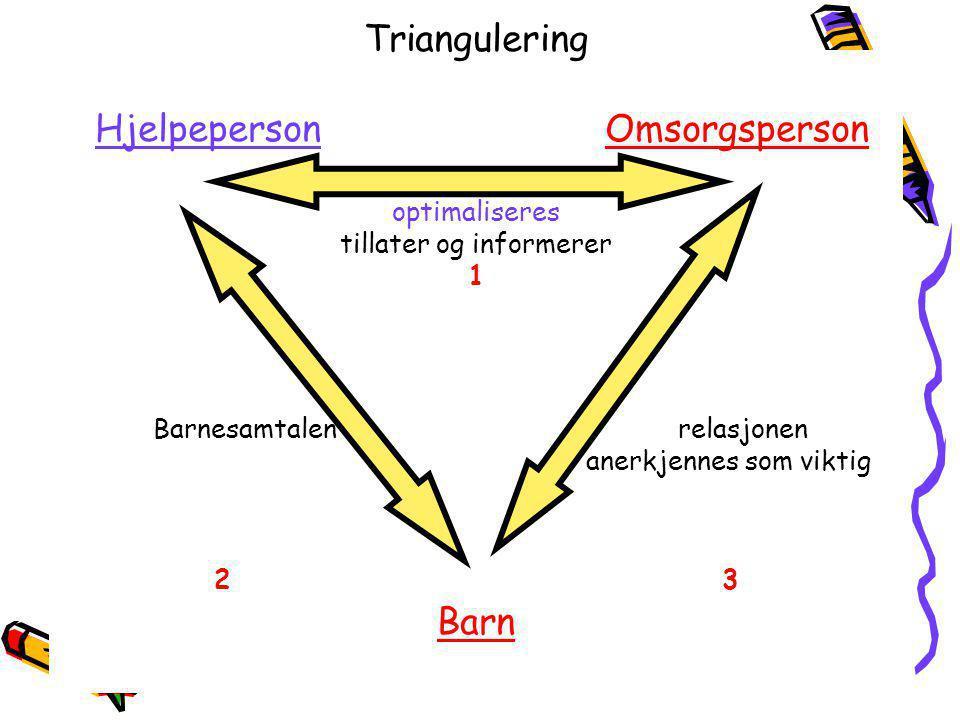 10.09.06Haldor Øvreeide Triangulering Hjelpeperson Omsorgsperson optimaliseres tillater og informerer 1 Barnesamtalen relasjonen anerkjennes som vikti
