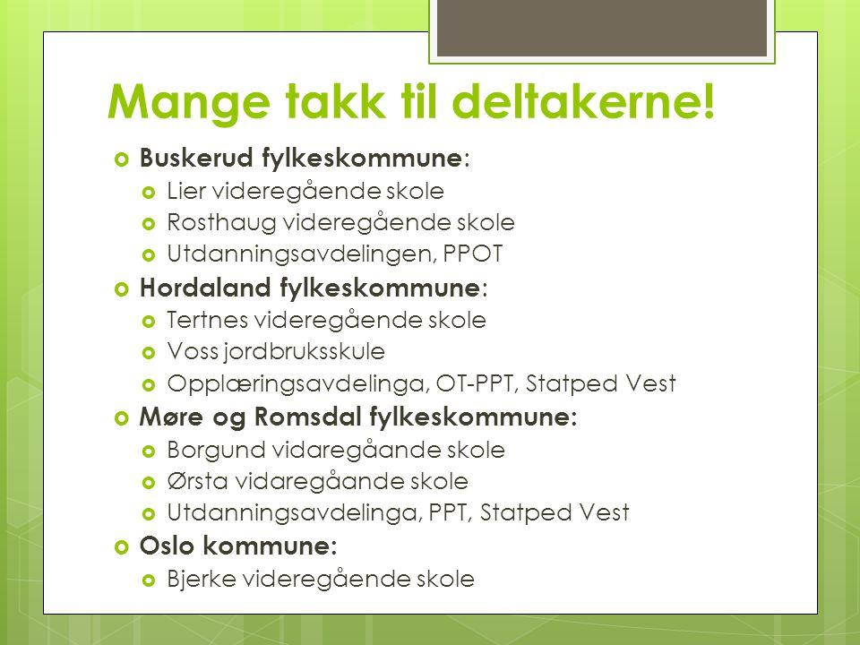 Mange takk til deltakerne!  Buskerud fylkeskommune :  Lier videregående skole  Rosthaug videregående skole  Utdanningsavdelingen, PPOT  Hordaland