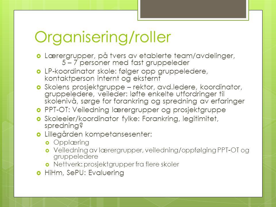 Organisering/roller  Lærergrupper, på tvers av etablerte team/avdelinger, 5 – 7 personer med fast gruppeleder  LP-koordinator skole: følger opp grup