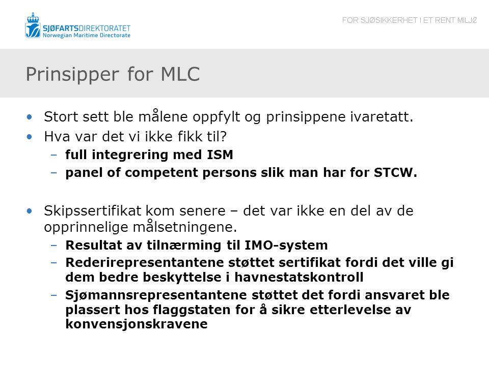Prinsipper for MLC •Stort sett ble målene oppfylt og prinsippene ivaretatt.