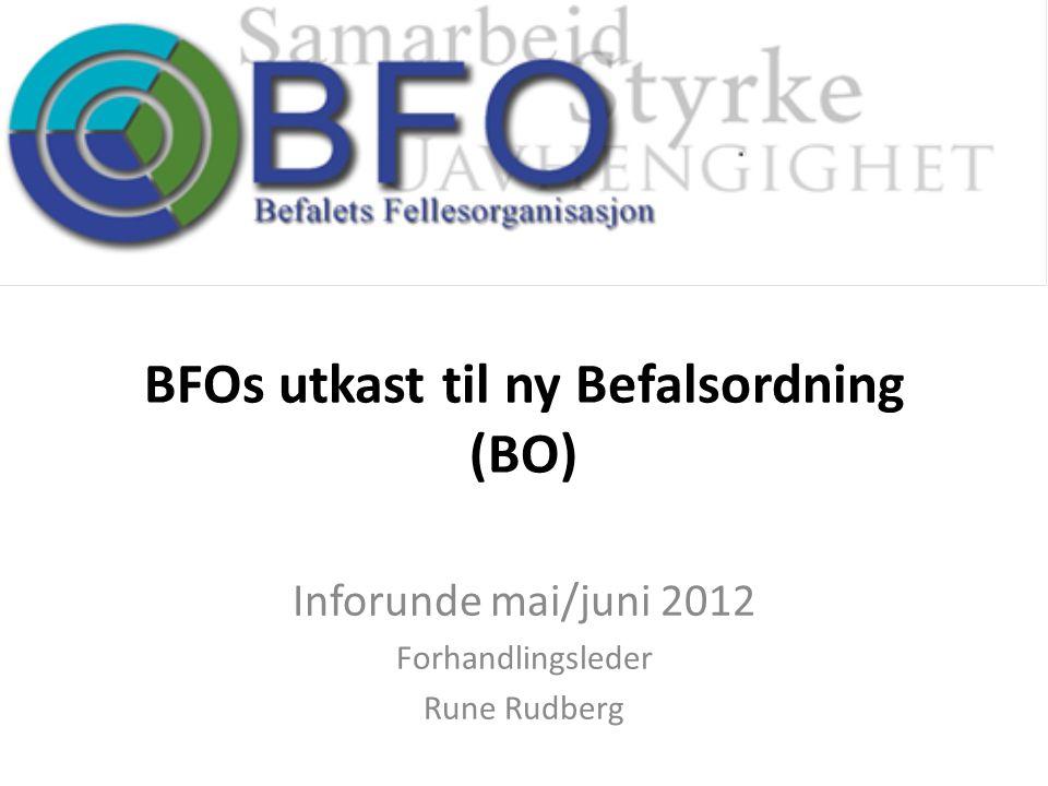 BFOs utkast til ny Befalsordning (BO) Inforunde mai/juni 2012 Forhandlingsleder Rune Rudberg
