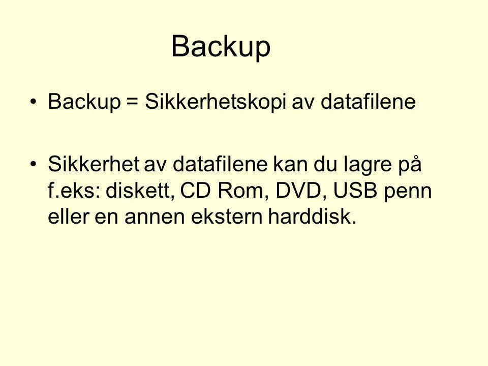 Backup •Backup = Sikkerhetskopi av datafilene •Sikkerhet av datafilene kan du lagre på f.eks: diskett, CD Rom, DVD, USB penn eller en annen ekstern ha
