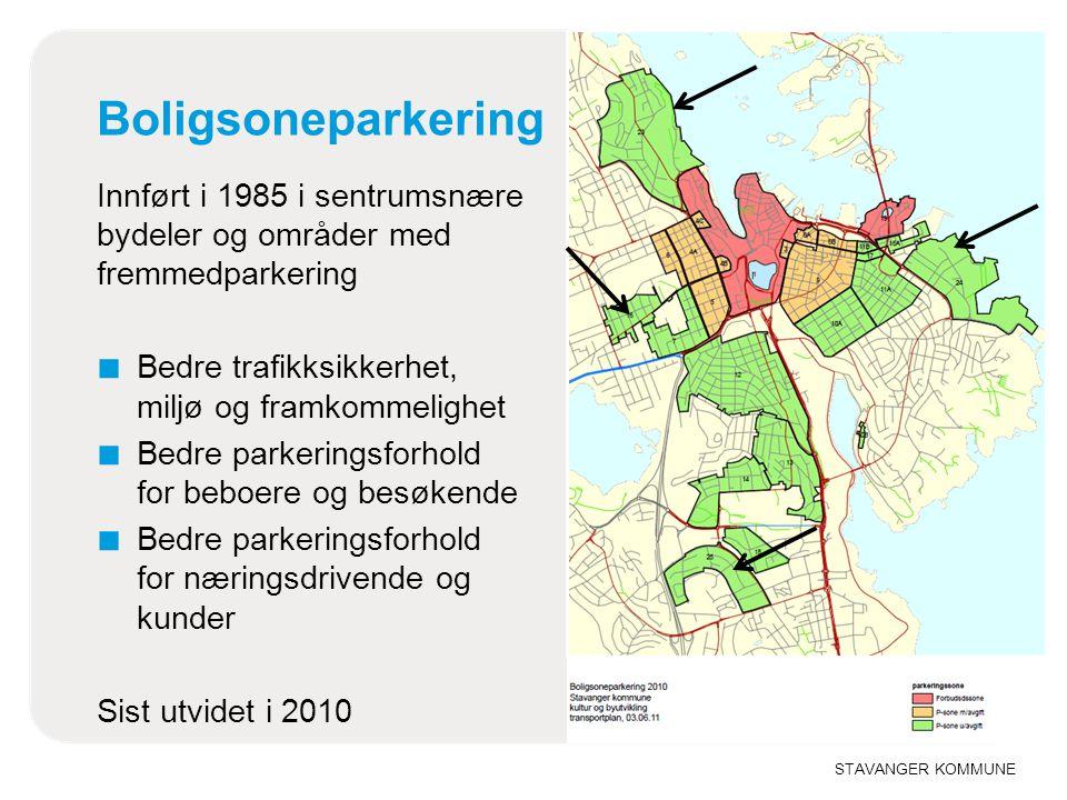 STAVANGER KOMMUNE Boligsoneparkering Innført i 1985 i sentrumsnære bydeler og områder med fremmedparkering ■ Bedre trafikksikkerhet, miljø og framkomm