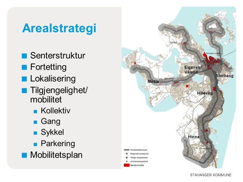 STAVANGER KOMMUNE Arealstrategi ■ Senterstruktur ■ Fortetting ■ Lokalisering ■ Tilgjengelighet/ mobilitet ■ Kollektiv ■ Gang ■ Sykkel ■ Parkering ■ Mo