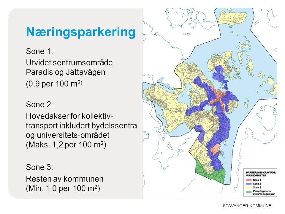 STAVANGER KOMMUNE Næringsparkering Sone 1: Utvidet sentrumsområde, Paradis og Jåttåvågen (0,9 per 100 m 2) Sone 2: Hovedakser for kollektiv- transport