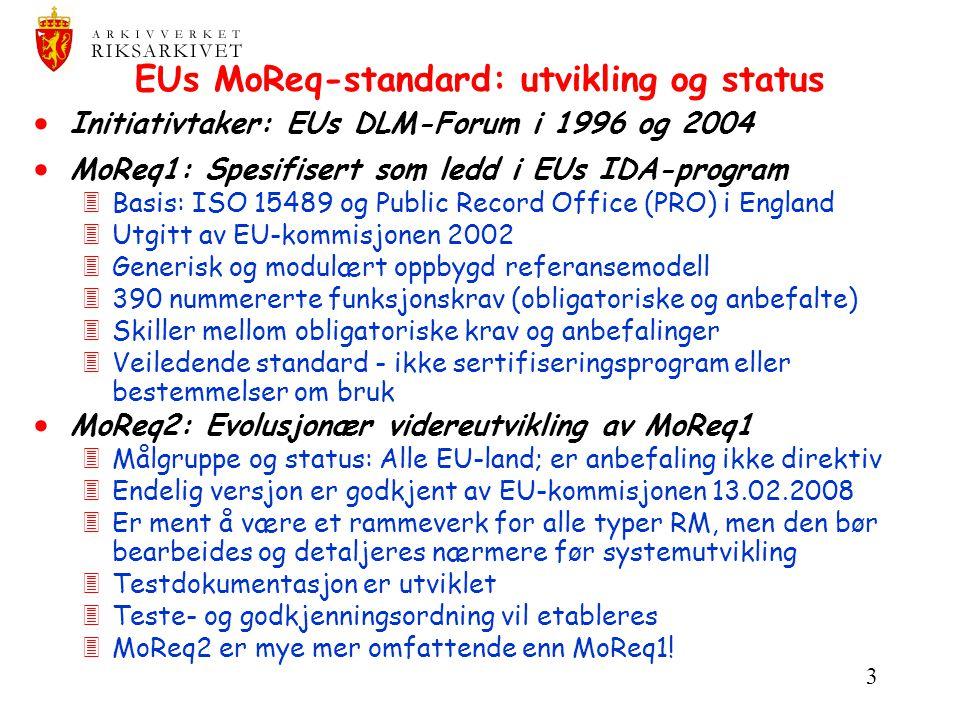 3 EUs MoReq-standard: utvikling og status  Initiativtaker: EUs DLM-Forum i 1996 og 2004  MoReq1: Spesifisert som ledd i EUs IDA-program 3Basis: ISO