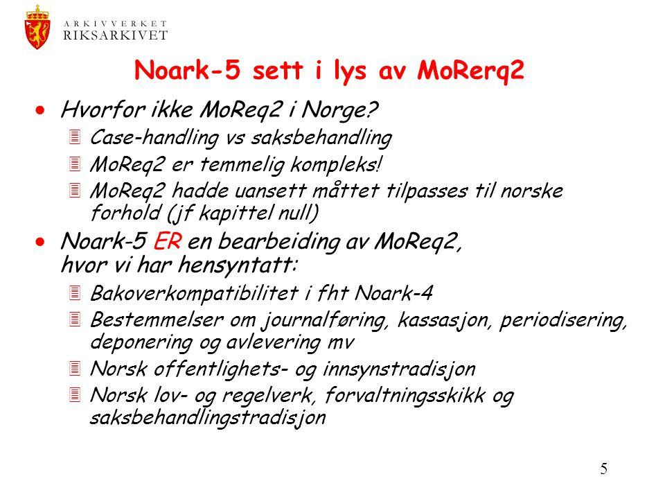 5 Noark-5 sett i lys av MoRerq2  Hvorfor ikke MoReq2 i Norge? 3Case-handling vs saksbehandling 3MoReq2 er temmelig kompleks! 3MoReq2 hadde uansett må