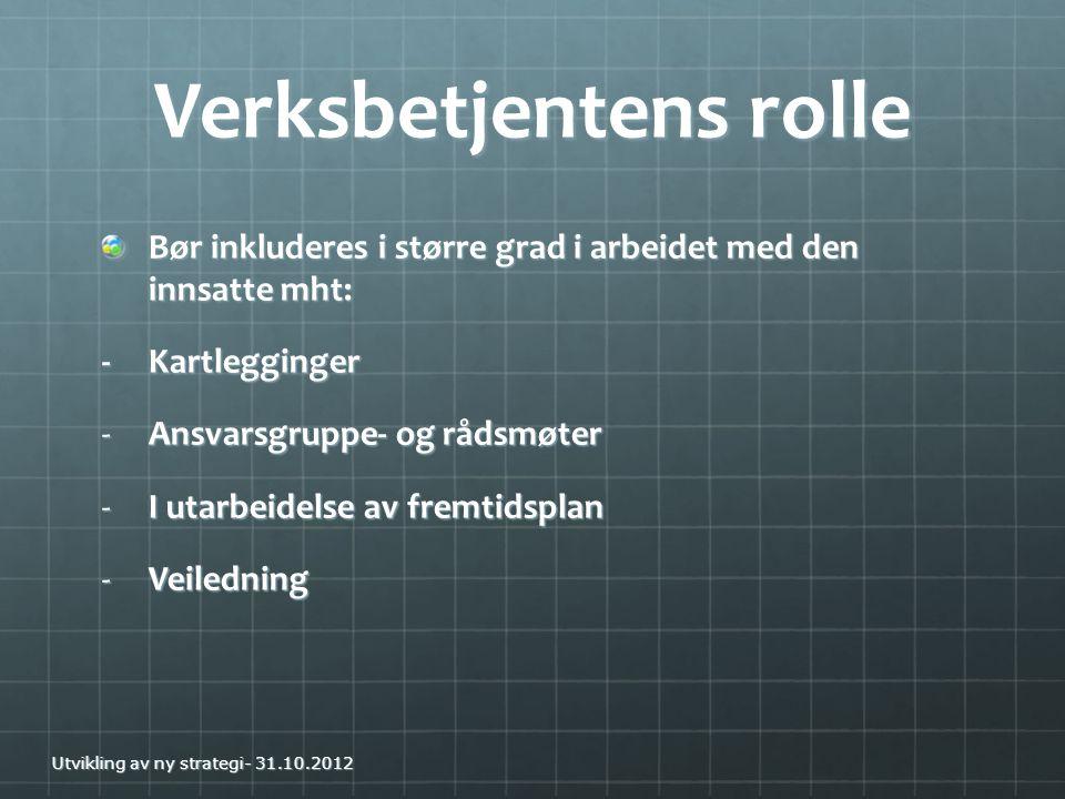 Verksbetjentens rolle Bør inkluderes i større grad i arbeidet med den innsatte mht: -Kartlegginger -Ansvarsgruppe- og rådsmøter -I utarbeidelse av fre