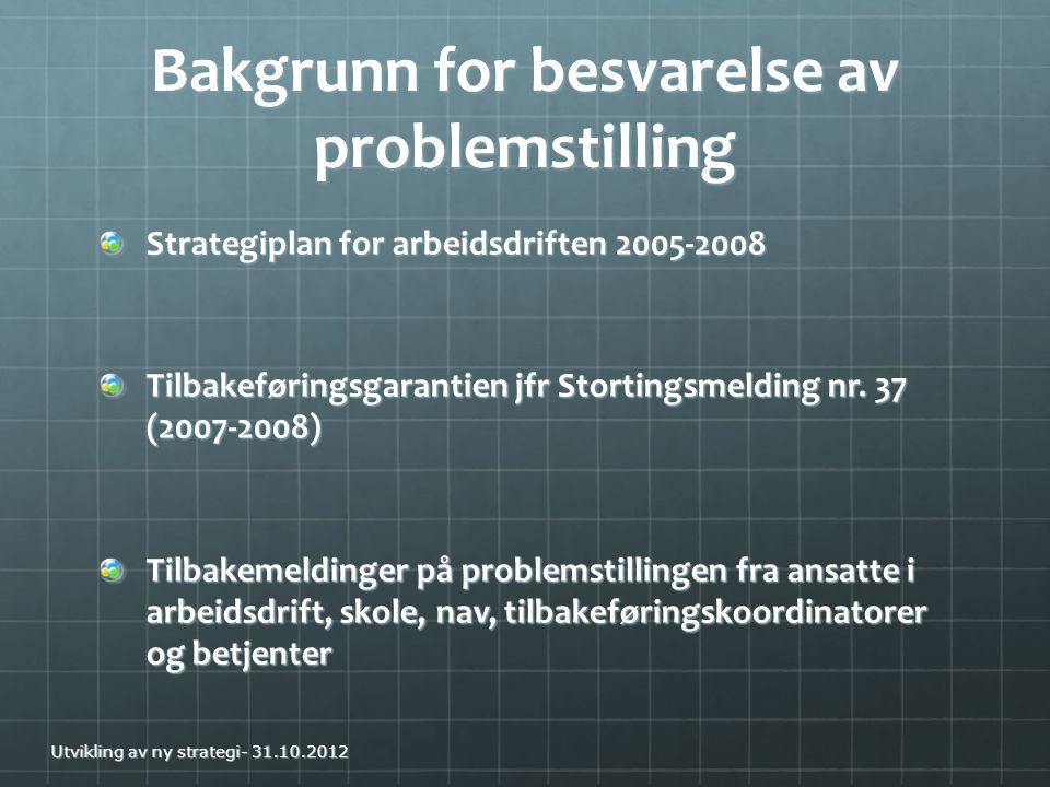 Bakgrunn for besvarelse av problemstilling Strategiplan for arbeidsdriften 2005-2008 Tilbakeføringsgarantien jfr Stortingsmelding nr. 37 (2007-2008) T