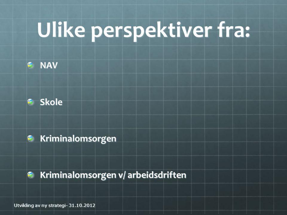 Ulike perspektiver fra: NAVSkoleKriminalomsorgen Kriminalomsorgen v/ arbeidsdriften Utvikling av ny strategi- 31.10.2012