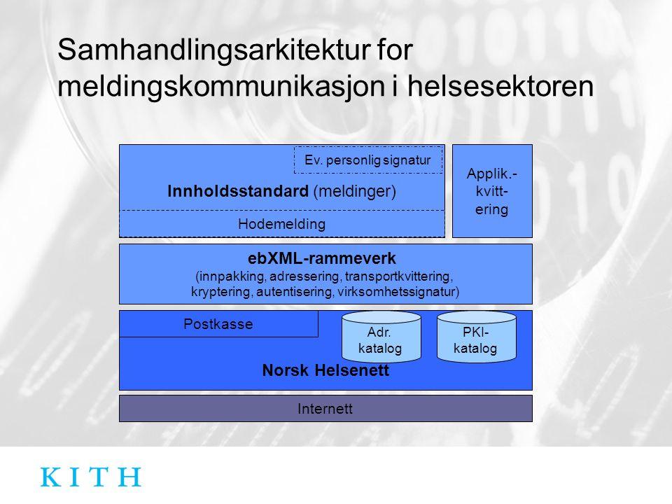 Samhandlingsarkitektur for meldingskommunikasjon i helsesektoren ebXML-rammeverk (innpakking, adressering, transportkvittering, kryptering, autentiser