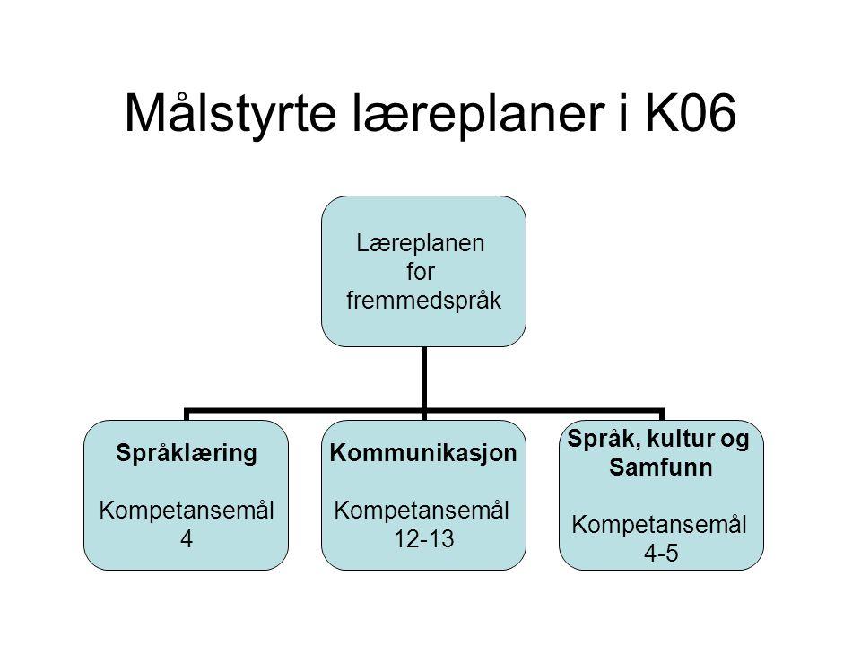 Målstyrte læreplaner i K06 Læreplanen for fremmedspråk Språklæring Kompetansemål 4 Kommunikasjon Kompetansemål 12-13 Språk, kultur og Samfunn Kompetan