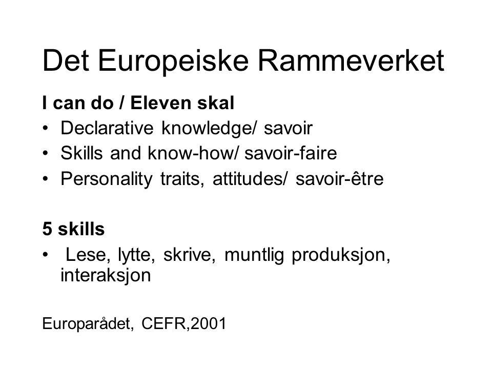 Det Europeiske Rammeverket I can do / Eleven skal •Declarative knowledge/ savoir •Skills and know-how/ savoir-faire •Personality traits, attitudes/ sa