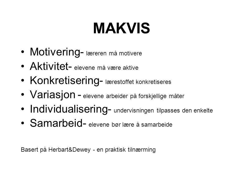 MAKVIS •Motivering- læreren må motivere •Aktivitet- elevene må være aktive •Konkretisering- lærestoffet konkretiseres •Variasjon - elevene arbeider på