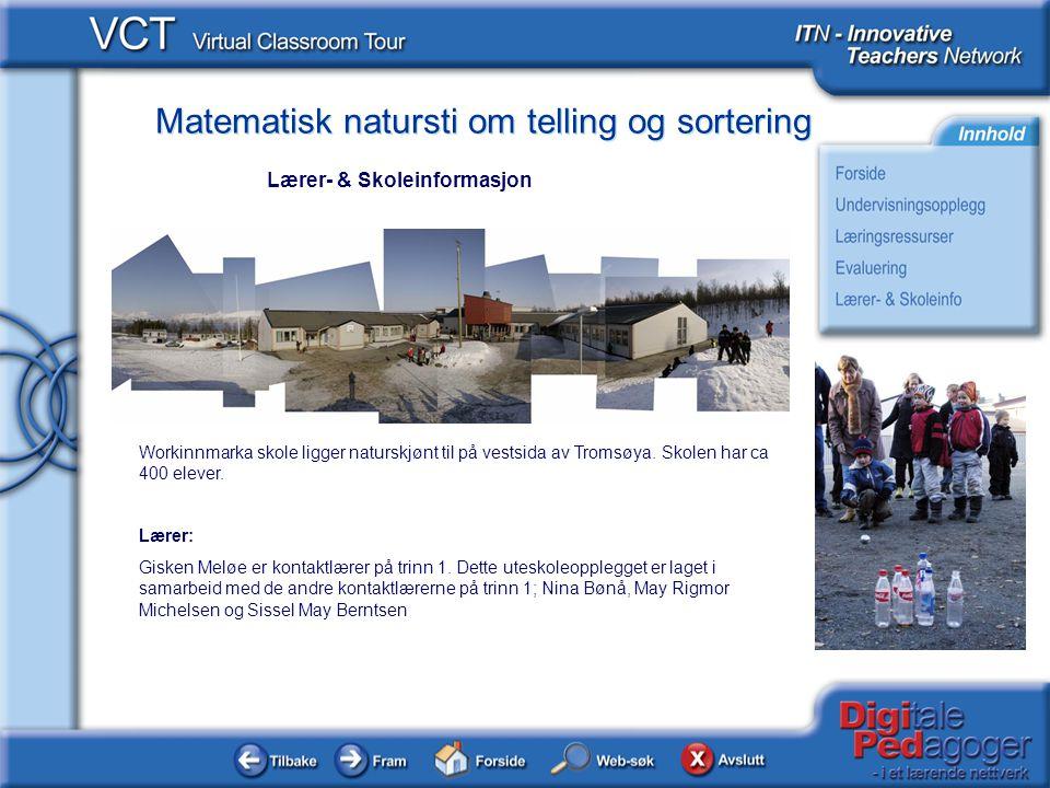 Matematisk natursti om telling og sortering Workinnmarka skole ligger naturskjønt til på vestsida av Tromsøya. Skolen har ca 400 elever. Lærer: Gisken
