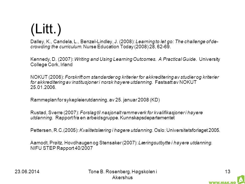 23.06.2014Tone B. Rosenberg, Høgskolen i Akershus 13 (Litt.) Dalley, K., Candela, L., Benzel-Lindley, J. (2008): Learning to let go: The challenge of
