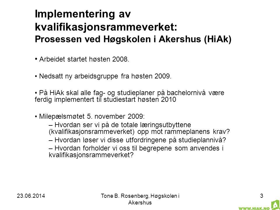 23.06.2014Tone B. Rosenberg, Høgskolen i Akershus 3 Implementering av kvalifikasjonsrammeverket: Prosessen ved Høgskolen i Akershus (HiAk) • Arbeidet